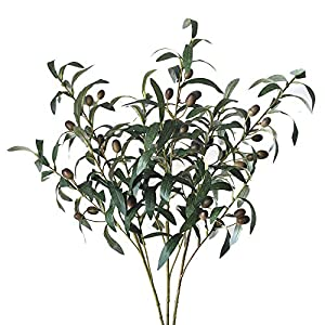 Lanldc 3 pcs 28'' Green Artificial Olive Stems Branches Fake Flowers Branch Leaves for Home Office Decor 68