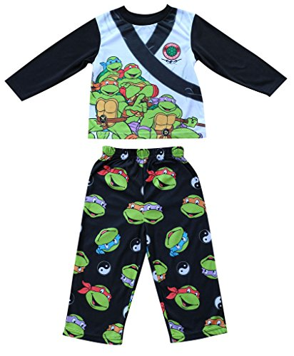 Toddler Ninja Turtles Pajamas Costume Shirts Pants 2PCS - Black & White (Size: 3T) (Black And White Superhero Costumes)