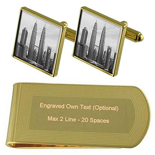 tone Tower Clip Gold Cufflinks Petromas Money Engraved Set Gift g774aAwq