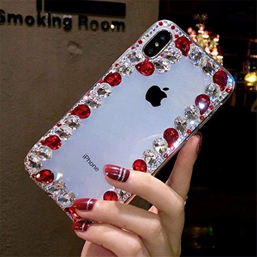 Alcatel Fierce 4 Case,Alcatel Allura Case,Alcatel Pop 4 Plus Crystal Diamond Case, 3D Handmade Luxury Sparkle Crystal Rhinestone Diamond Glitter Bling Clear TPU Case (Border/Red)