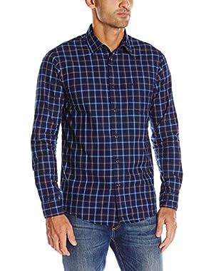 Men's Long Sleeve Indigo Dye Multi Plaid Chambray Woven Shirt