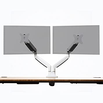 """Jarvis Monitor Mounting Arm - Fits up to 32"""" Computer Displays (Dual, White)"""