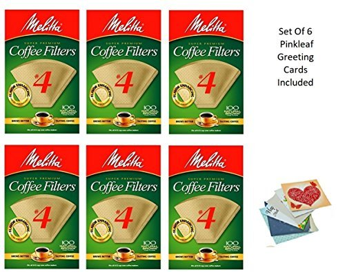 Melitta Cone Coffee Filters, Natural Brown #4, 100 Count (Pack Of 6) by Melitta