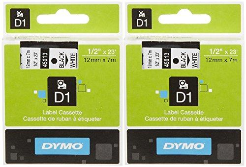 Dymo D1 45013 Tape Cartridge, Black On White 0.5