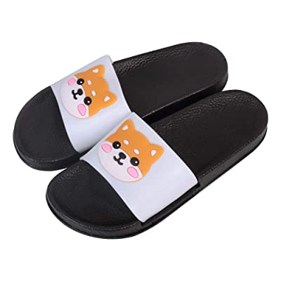 Shiba Inu Non-Slip Shower Sandals Cartoon Animal Slide Sandals Cute Dog Indoor Outdoor Slippers (White) | Slippers