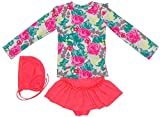 DQdq Little Girls' 3 Piece Rashguard Swimsuit Set with Swim Hat