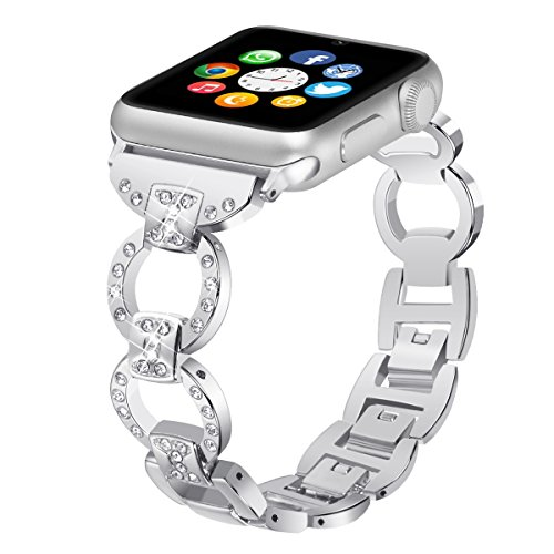 Metal Watch Band for Apple Watch Iwatch Band 42mm Bling Metal Wristband Bracelet for Women Diamond 38mm Apple Watch Band Series 3 2 1 by BONSTRAP (Image #5)