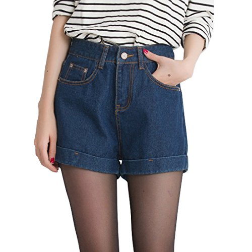 Big Leg Women (Weigou Women Denim Shorts Summer Loose A word Wide Legs Casual Curling Hot Pants Short Jeans (XL, Dark Blue))