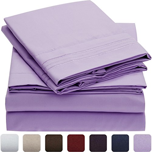 Mellanni Bed Sheet Set - HIGHEST QUALITY Brushed Microfiber 1800 Bedding - Wrinkle, Fade, Stain Resistant - Hypoallergenic - 3 Piece (Twin XL, Violet)
