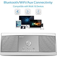 Bluetooth Speaker,XREXS HI-FI Surround Stereo Wireless WIFI Speakers with Subwoofer Bass Boost and Superior Sound,2x8W Output, Apple Airplay, DLNA, Built-in Mic Hands Free for Phone(Silver)