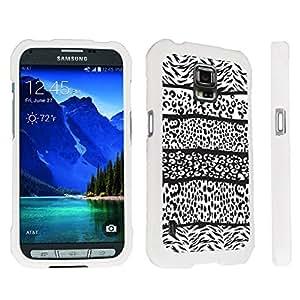 DuroCase ? Samsung Galaxy S5 Active SM-G870A Stylish Hard Case White - (Zebra Leopard Black)
