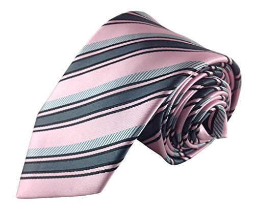 Mens Necktie Pink with Charcoal Grey and Silver Stripe Fashion Tie
