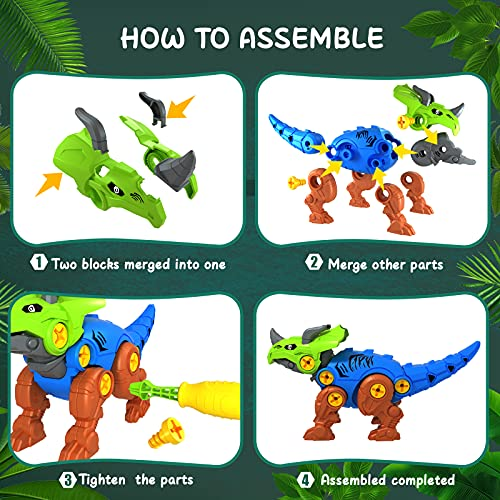 UTTORA Take Apart Dinosaur Toys, 4 Pack DIY Dinosaur Toys Set with Electric Drill, Assemble Dinosaur Construction Build Set Toys, STEM Gifts Dinosaur Toys for Boys Girls
