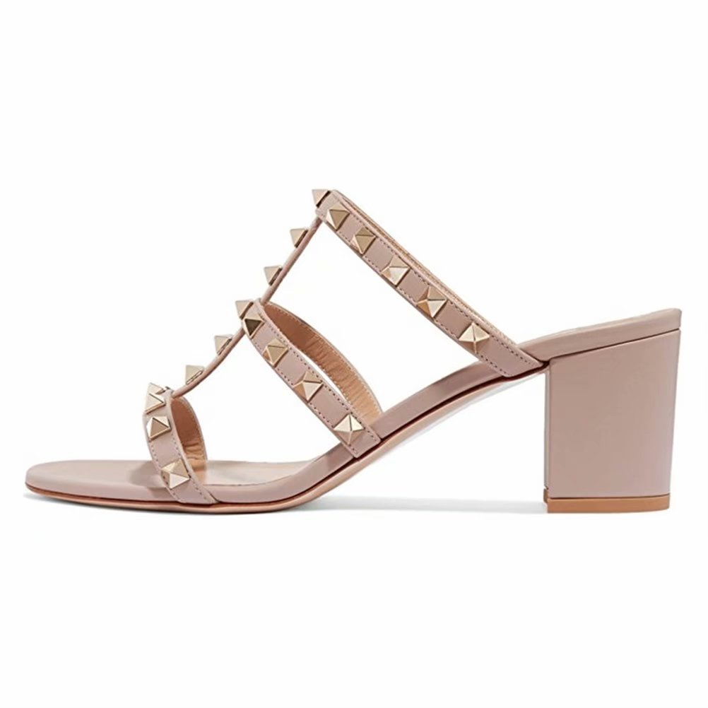 Chris-T Chunky Heels for Womens Studded Slipper Low Block Heel Sandals Open Toe Slide Studs Dress Pumps Sandals 5-14 US B07DH7B15F 13 M US|Nude/2 in