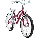 BIKESTAR Original Premium Safety Sport Kids Bike Bicycle with sidestand and Accessories for Age 6 Year Old Children   20 Inch Cruiser Edition for Girls   Creamy Violet