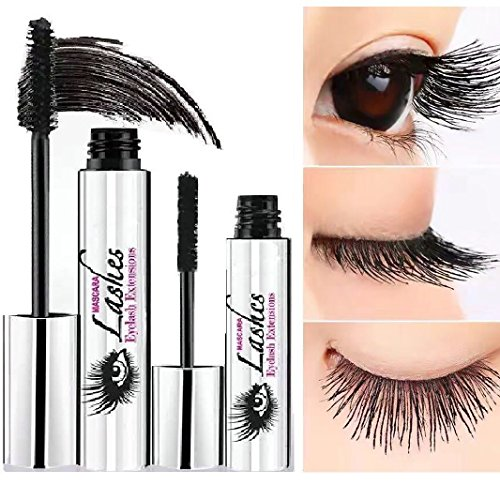 4D Fiber Lash Mascara by PrettyDiva, Waterproof Liquid Eyelash Extensions Mascara Cream with Crazy-long Silk Fiber - Black