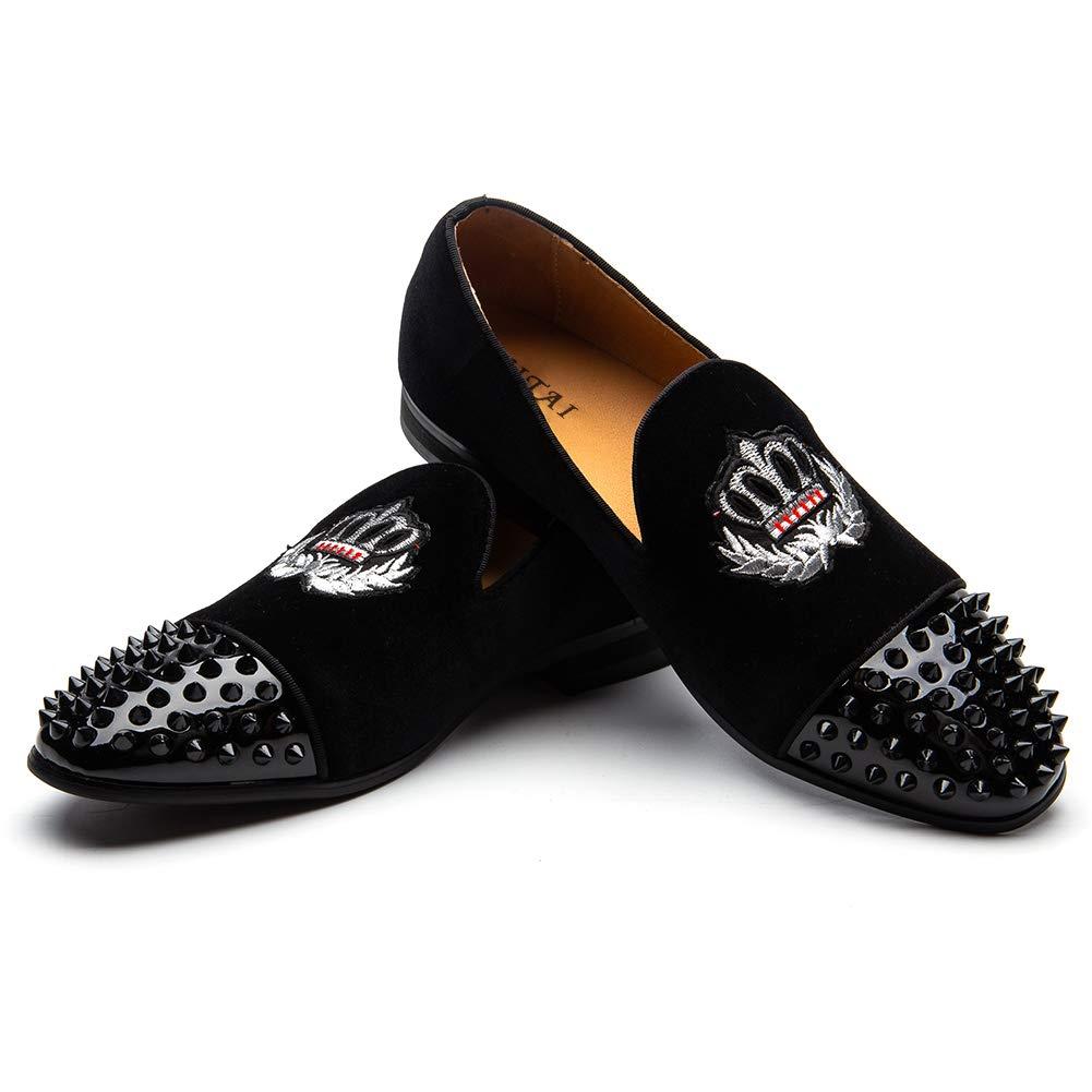 JITAI Spikes Loafer and Diamonds Herren Glitzer Lederschuhe Slip on Loafer Spikes Smoking Slipper schwarz bd1680