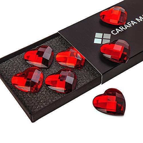 Red Heart Shape Fridge Magnets 7-Pack - Pretty Gift for Mom Daughter Girl Teacher - Cute Wedding Decoration - Small Gift for Women - Magnetic V-Day Heart Decor for Home