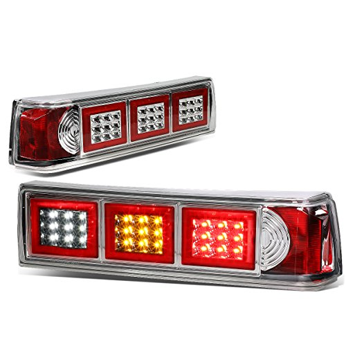 For Ford Mustang Pair LED Chrome Housing Altezza Square Style Tail Brake Lights(White Reverse/Yellow Signal/Red Brake)