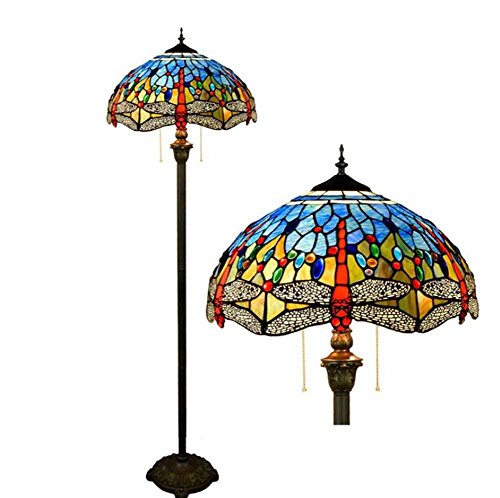 Copper Feather Floor Lamp - 16-inch Vintage Tiffany Style Floor Lamp,Mediterranean Stained Glass Floor Uplighter, Living Room, Bedroom, Bedside Blue Dragonfly Decoration Standing Light, Zipper Lamp E27 (Bulbs Not Included)