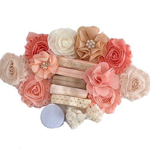 Peach of My Heart : DIY Headband Kit - MAKES 5-10 Hair Accessories - BABY - TWEEN - Gift Making Station - Shabby Chiffon Craft Roses FOE Fold Over Elastic : Princess Parties & Baby Showers