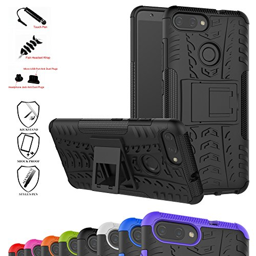 Zenfone Max Plus Case,Mama Mouth Shockproof Heavy Duty Combo Hybrid Rugged Dual Layer Grip Cover with Kickstand for Asus Zenfone Max Plus (M1) ZB570TL (with 4 in 1 Packaged),Black