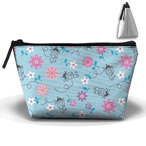 Travel Cosmetic Bags Honeybee Flowers Small Makeup Bag Multifunction Pouch Cosmetic Handbag Toiletries Organizer Bag for Women Girl -