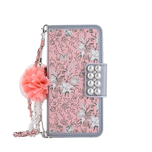 Price comparison product image Leather Wallet Case iPhone 6 Plus, iPhone 6S Plus Women HandBag Case with Chian, Gostyle Fashionable Luxury Pink Flower Pattern PU Flip Magnetic Case with Credit Card Holder and Wristlet Strap.