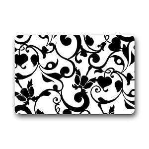 Amazoncom fantastic doormat black and white damask for Black and white damask bath mat
