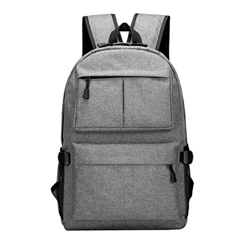 Jiusike Fashion Sports Waterproof Travel Backpack with USB Charging Port & Headphone interface for College Student for Women Men. Fits under 15-Inch Laptop Notebook (Gray) by Jiusike