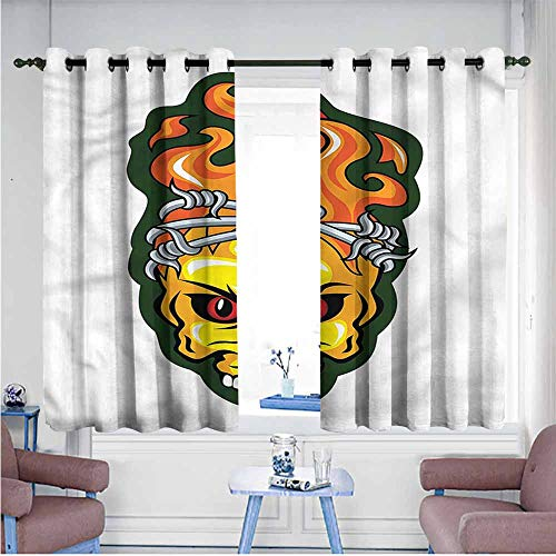 Abeocg Fresh Curtains Barbed Wire Spooky Halloween Theme Girl Room Blackout Curtain W63 xL72 Suitable for Bedroom,Living,Room,Study, etc.]()