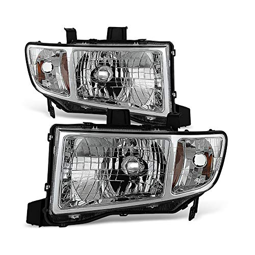 VIPMOTOZ Chrome Housing OE-Style Headlight Headlamp Assembly For 2006-2014 Honda Ridgeline Pickup Truck, Driver & Passenger Side