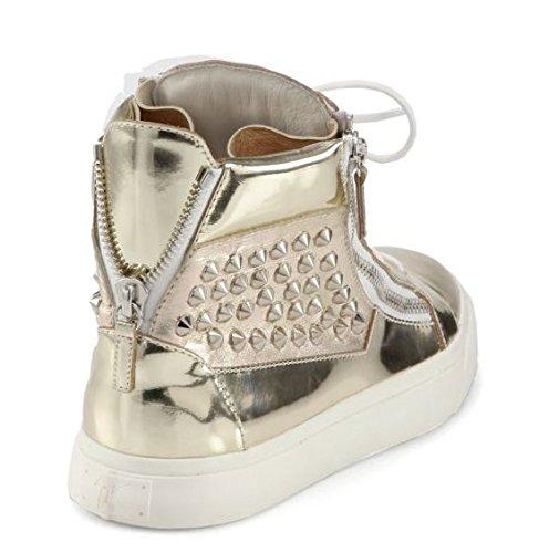 Giuseppe Zanotti London Studs Platinum Gloss Leather Hola Top 16 Us / 49 Eu
