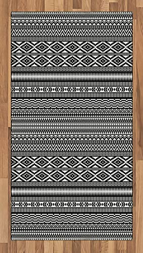Ambesonne Afghan Area Rug, Traditional Monochrome Herringbone Zigzag Stripes and Rhombuses Tribal Design, Flat Woven Accent Rug for Living Room Bedroom Dining Room, 2.6 x 5 FT, Black and - Black Rug Studio Rug