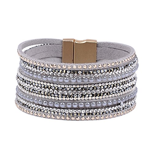 Artilady Shinning wrap Clasp Bangle for Women (Grey)