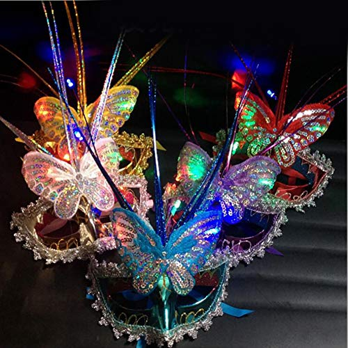 yanQxIzbiu Halloween Scary Mask Luminous Women Butterfly Masquerade Face Mask Princess Prom Party Props Costume Random Color ()