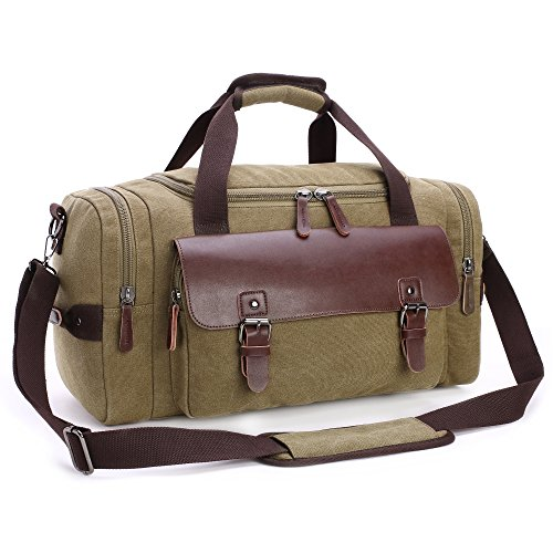 Cambond Duffle Bag Canvas PU Leather Weekender Overnight Bag Only $19.99