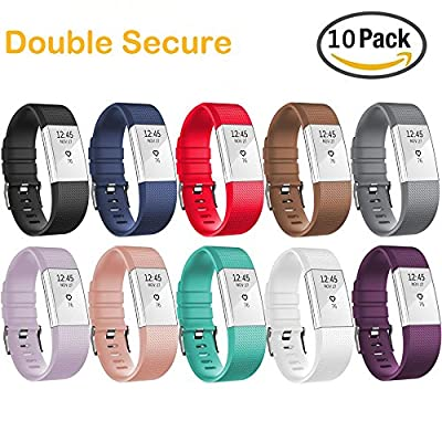 HWHMH Adjustable Replacement Sport Strap Band for Fitbit Charge 2 Fitness Watch, Classic, 12 Colors