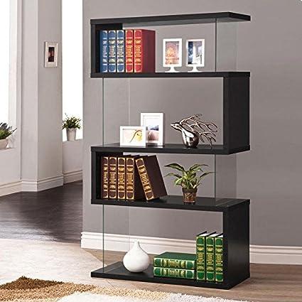 Wakrays Modern Long Floating Shelf Bookcase Asymmetrical Snaking Bookshelf Black