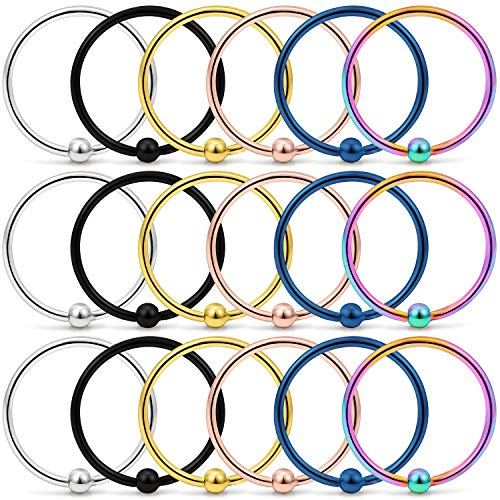 (Yaalozei 18PCS 20G 10mm Stainless Steel Attached Captive Bead Nose Hoop Rings Eyebrow Cartilage Helix Hook Earring Septum Ring Piercing Jewelry for Men Women Mix Color)