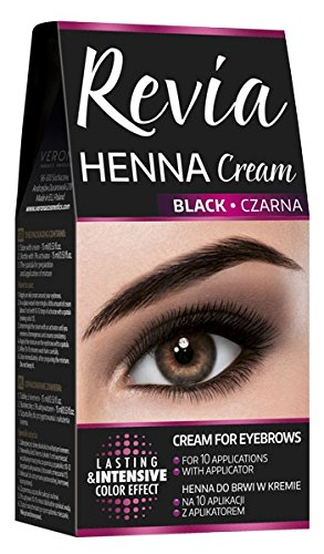 Revia Henna Cream Black Brown Eyebrow And Lashes 10 Applications Kit