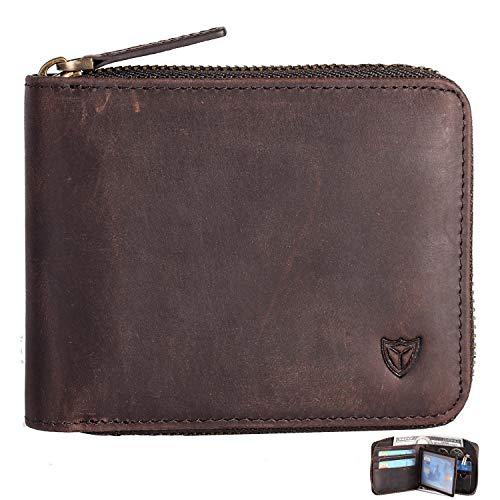 Zippered Wallet - RFID Men's Leather Zipper wallet Zip Around Wallet Bifold Multi Card Holder Purse (Coffee)
