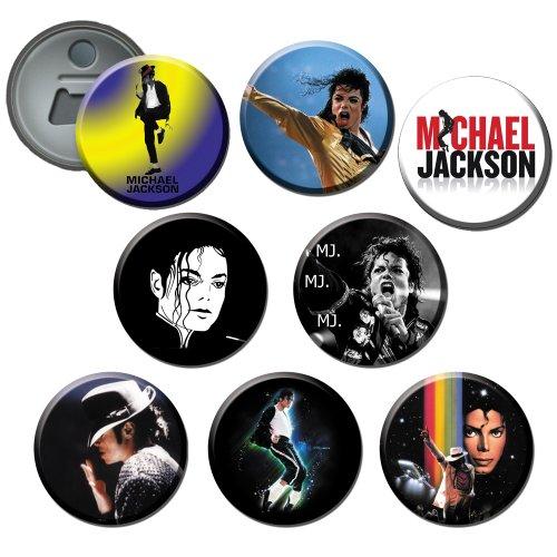 Michael Jackson #1 58mm Button Bottle Opener / Fridge Magnet (Set of ()