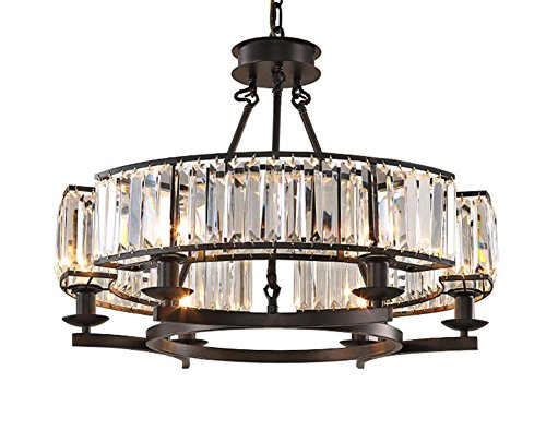 Yue Jia Luxury Contemporary Round Island Crystal Chandelier Flush Mount Pendant Light Lighting Fixture for Dining Room W25.6 x H19.7
