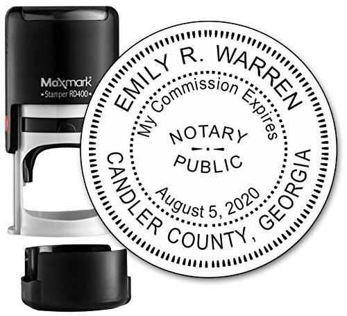 Round Notary Stamp for State of Georgia- Self Inking Stamp - Top Brand Unit with Bottom Locking Cover for Longer Lasting Stamp - 5 Year Warranty by Rubber Stamp Creation