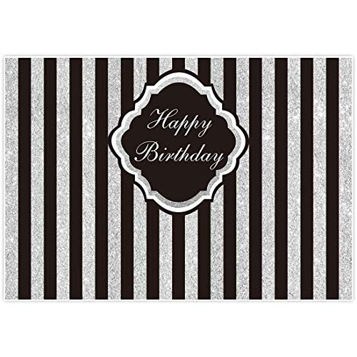 Allenjoy 7x5ft Black and Silver Stripe Backdrop for Adult Children Woman Happy 1st First Birthday Sweet 16 Party Glitter Wall Decor Decorations Photography Pictures Photo Studio Booth Shoot Background