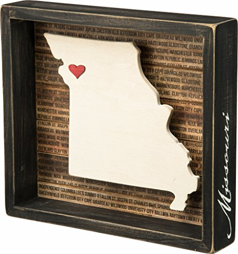 Missouri State Shape Box Sign Primitives by Kathy (State Themed Gifts)
