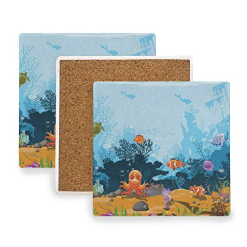 Ocean Sea World Fish Aquatic Coral Coasters, Protect Your Furniture from Stains,Coffee, Cork Coasters Funny Housewarming Gift,Square Cup Mat Pad for Home, Kitchen or Bar Set of 2