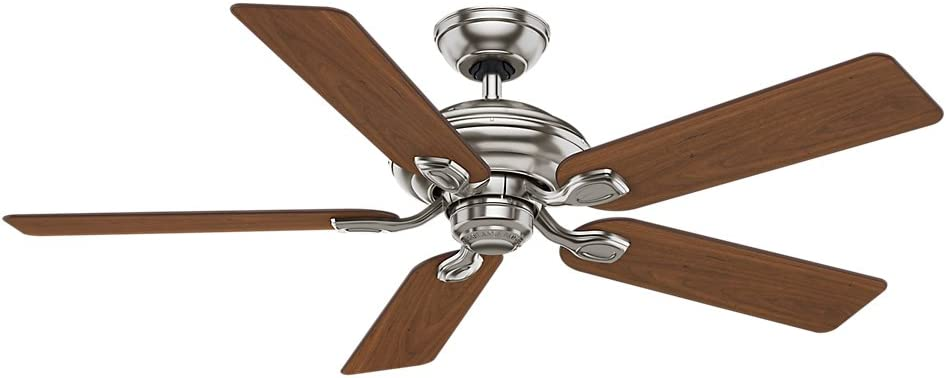 Casablanca 54042 Utopian Gallery 52 Inch 5 Blade Single Light Ceiling Fan Brushed Nickel With Walnut Burnt Walnut Blades And Cased White Glass Bowl Light Amazon Com