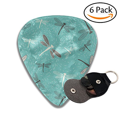 Grghtrghlsd Dragonfly Pattern With Teal Blue Background Classic Guitar Picks For Electric/acoustic Guitar,and (Dragonfly Acoustic Bass)